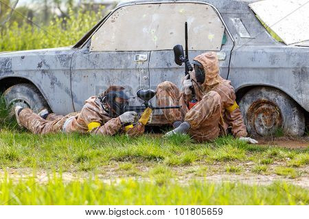 Two Friends Defend Old Car In Paintball Mission