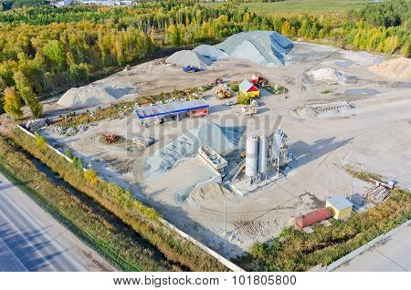 Aerial view on construction materials company. Tyumen. Russia