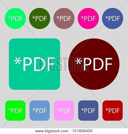 Pdf File Document Icon. Download Pdf Button. Pdf File Extension Symbol. 12 Colored Buttons. Flat Des