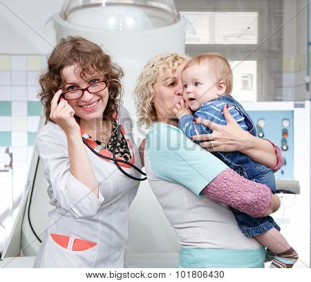 Mother, Granny And Little Boy In Hospital