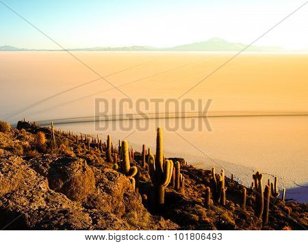 Sunrise and Uyuni salt plain