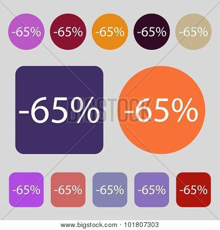 65 Percent Discount Sign Icon. Sale Symbol. Special Offer Label. 12 Colored Buttons. Flat Design. Ve