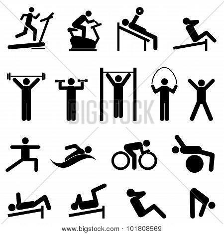 Exercise, Fitness, Health And Gym Icons