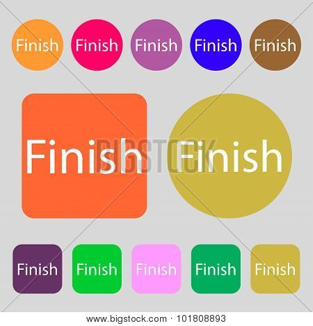 Finish Sign Icon. Power Button. 12 Colored Buttons. Flat Design. Vector