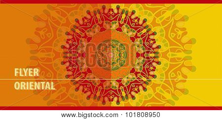 Red Flayer template design. Abstract Retro Ornate Mandala Background for greeting card, Brochure, Ca