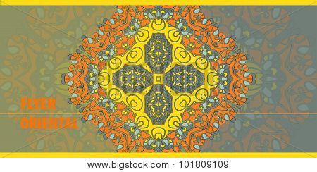 Flayer cover template. Abstract Retro Ornate Mandala Background for greeting card, Brochure, Card or