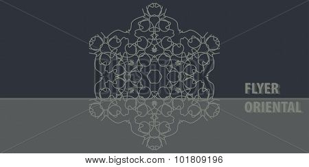 Flayer template design in dark color. Abstract Retro Ornate Mandala Background for greeting card, Br