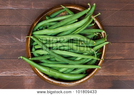 Green Beans In Wooden Plate, Close Up