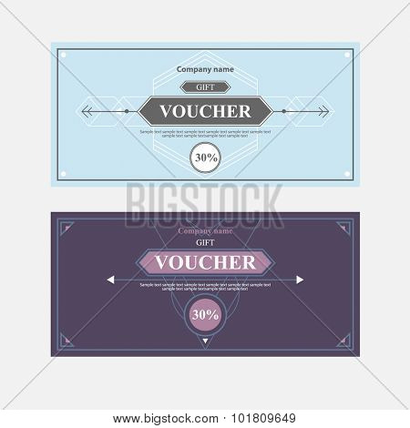 Template gift voucher of different colors.