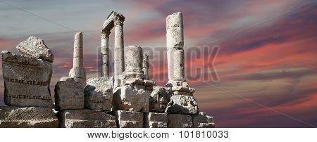 Temple Of Hercules, Roman Corinthian Columns At Citadel Hill, Amman, Jordan