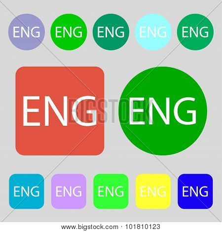 English Sign Icon. Great Britain Symbol. 12 Colored Buttons. Flat Design. Vector