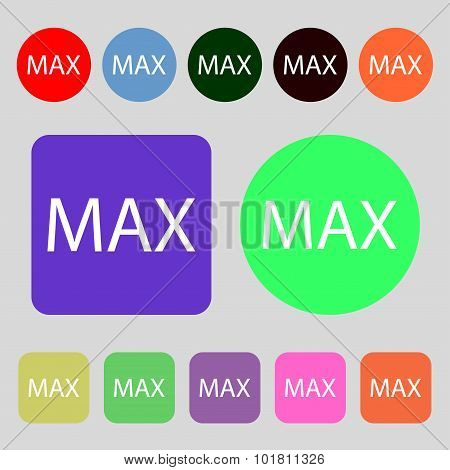 Maximum Sign Icon. 12 Colored Buttons. Flat Design. Vector