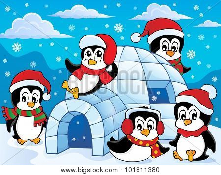 Igloo with penguins theme 2 - eps10 vector illustration.