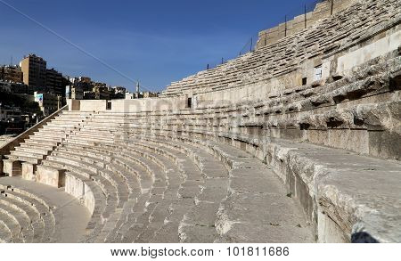 Roman Theatre In Amman, Jordan -- Theatre Was Built The Reign Of Antonius Pius (138-161 Ce), The Lar