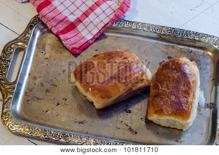 Fresh baked pasties with apples