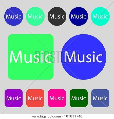 Music Sign Icon. Karaoke Symbol. 12 Colored Buttons. Flat Design. Vector
