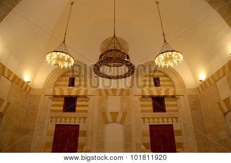 King Hussein Bin Talal Mosque In Amman (at Night), Jordan