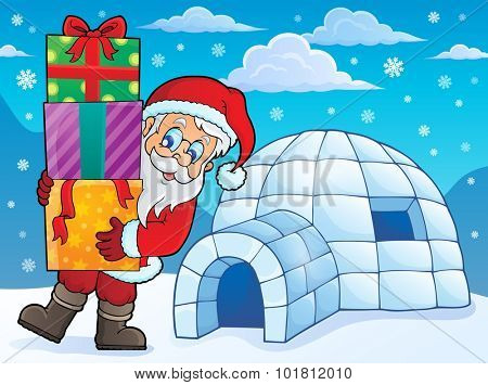 Igloo with Santa Claus theme 1 - eps10 vector illustration.