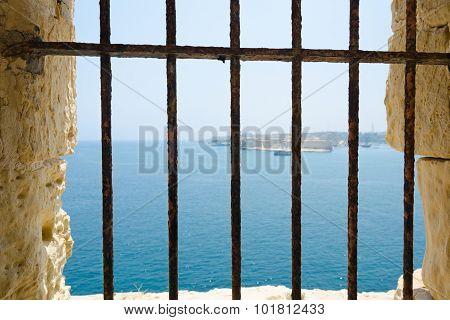 Seaview Through The The Iron Bars
