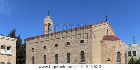 Greek Orthodox Basilica Of Saint George In Town Madaba, Jordan,  Middle East