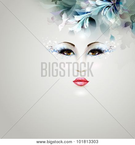 Beautiful abstract women with abstract design floralb elements