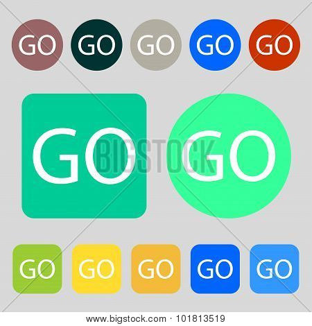 Go Sign Icon. 12 Colored Buttons. Flat Design. Vector