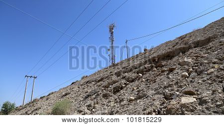 Telecommunication Antenna And Equipment In The Desert Of Jordan, Middle East