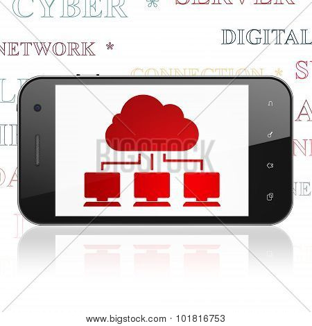 Cloud technology concept: Smartphone with Cloud Network on display
