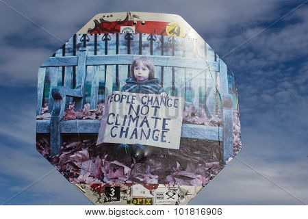 Street art People change not climate change