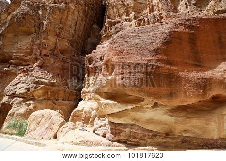 Fragment Of Rock In The 1.2Km Long Path (as-siq) In The City Of Petra, Jordan