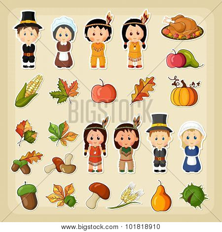 Thanksgiving Harvest icon set