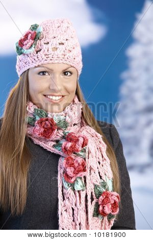Pretty Girl Dressed Up Warm Smiling Wintertime