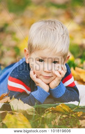 Portrait Of Beautiful Blond Offspring Laying On Autumn Leaves Outside