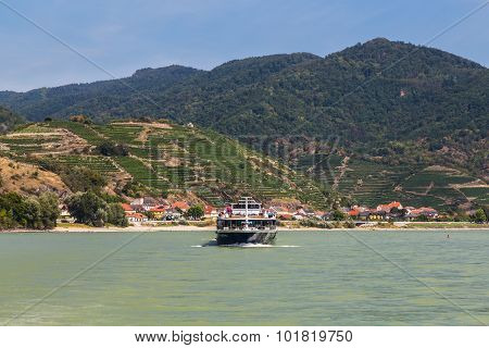 Boat along the River Danube in the Wachau Valley