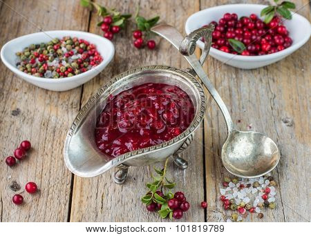 Homemade cranberry sauce for meat and fish