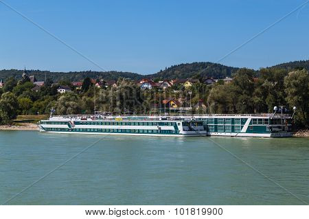 Large Boats Along The Danube River