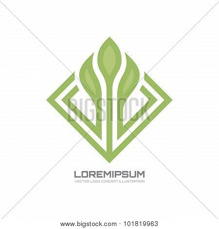Flower - vector logo concept illustration. Flower with leaves vector illustration.