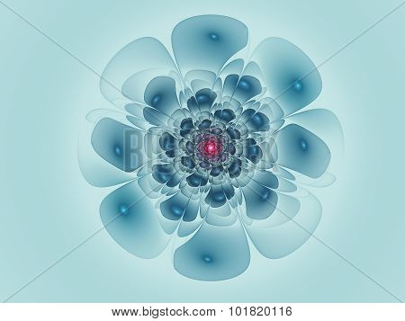 Primitive Fractal Flower Illustration Over Blue Background