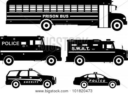 Set of different silhouettes prison bus and police cars in a flat style. Vector illustration.