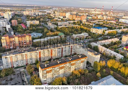 Aerial urban view on evening residential district