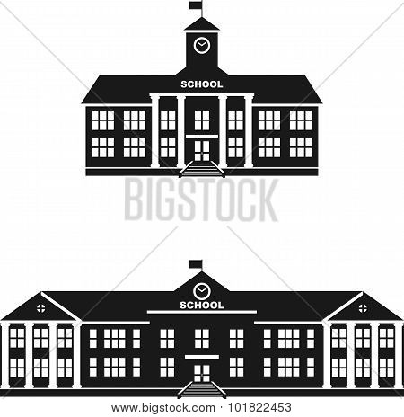 Set of silhouettes classical school building isolated on white background. Vector illustration.