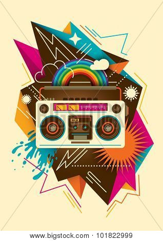 Colorful abstraction with radio. Vector illustration.