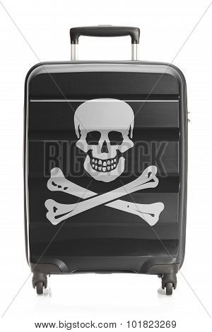 Suitcase Painted Into Jolly Roger Flag - Piracy Symbol