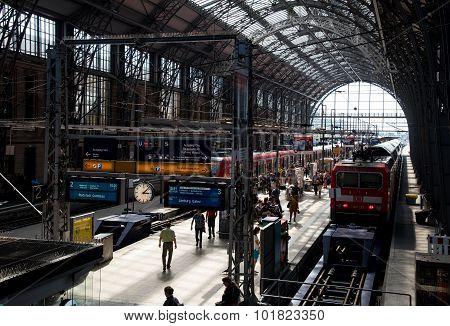 Passengers At The Frankfurt Main Train Station