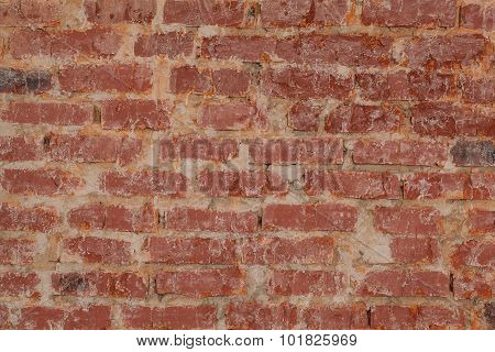 Vintage Red Brick Wall Texture Closeup