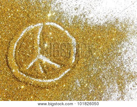 Sign of pacific on golden glitter sparkles on white background