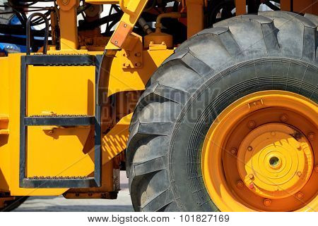 big truck wheel closeup object