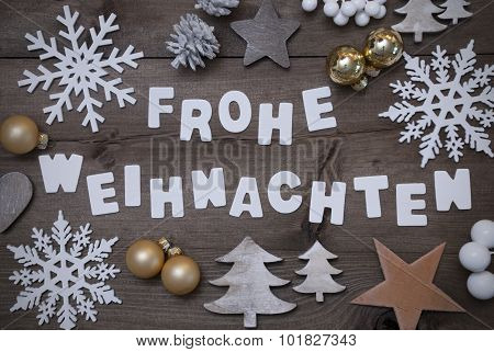 Frohe Weihnachten Mean Merry Christmas,Gray Golden Decoration