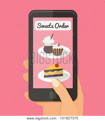Food delivery, online internet order. Flat vector illustrations
