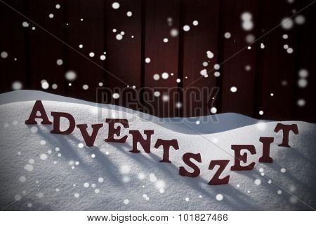 Adventszeit Means Christmas Time On Snow Snowflake